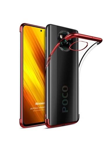 Microsonic Xiaomi Poco X3 Pro Kılıf Skyfall Transparent Clear Gold Kırmızı